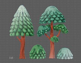 Trees Cartoon V05 3D asset