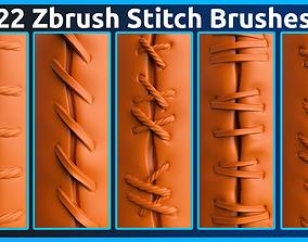 22 Zbrush Stitch Brushes 3D model