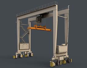 PBR Rubber Tyred Gantry Crane RTG V2 - White 3D asset