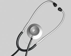 Medical Stethoscope rigged auscultation 3D model