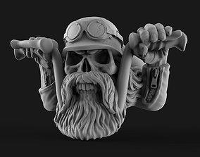 rings 3D print model biker skull ring