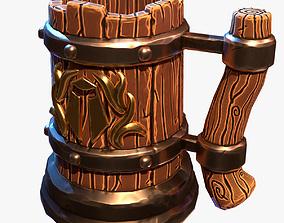 3D asset Cartoon Beer Mug game-ready
