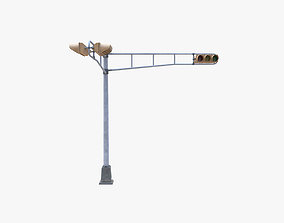 3D model Street Light With Traffic Light 02