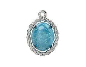 Women pendant with cabochon 3dm stl vintage gold