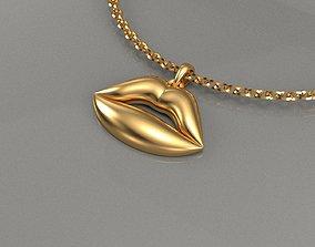 3D print model golden lips pendant jewelry
