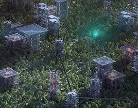 Unique Sci-Fi Cyberpunk Futuristic City Buildings 3D