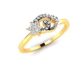 diamond jewel Women Band Ring 3dm render detail