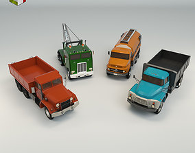 3D model Low Poly Truck Pack 02