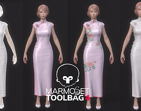 Woman-in-cheongsam-suit-Game Assets game-ready