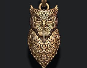 3D printable model jewel 925 owl pendant