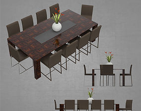 3D asset Dining table with 10 seats architectural 2