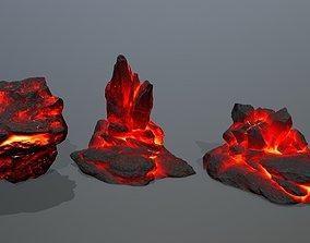Rock Set 3D asset game-ready sand