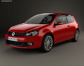 3D model Volkswagen Golf 3-door 2009