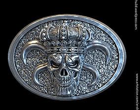 King skull with crown vol1 belt buckle 3D print model