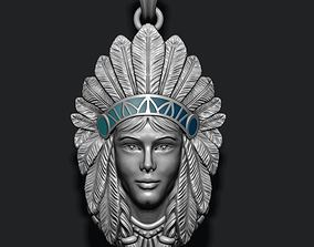 3D printable model Native American Indian girl pendant