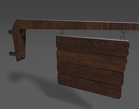 Wooden Hanging Sign 3D asset