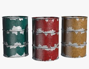 Rusty Three Colors Barrels 3D model
