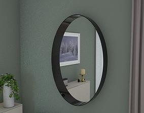 3D asset VR / AR ready Oval mirror 95cm high grey gloss