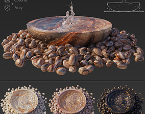 Water Bowl Fountain 3D vray