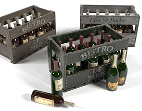 3D model Champagne Wine Wood Crate Pack UE4 Set Game 2
