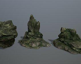 3D model realtime landscape Rock Set