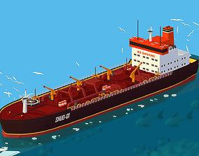 3D asset Isometric Boat Ship Oil Tanker in ocean