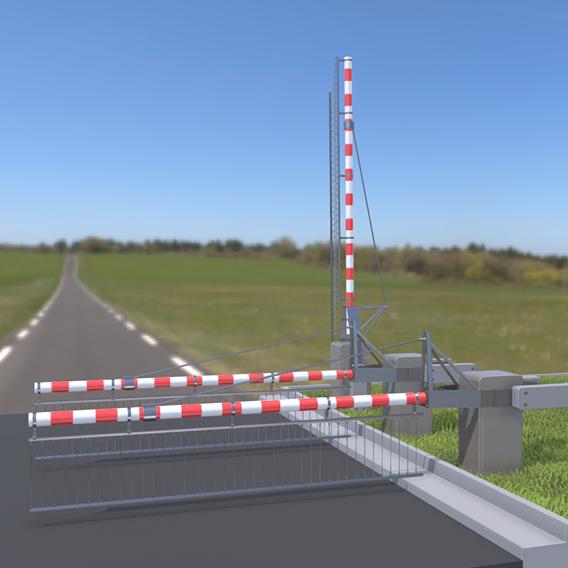 Railroad Barrier 4m (High-Poly) Protective Grid (Blender-2.91 Eevee)
