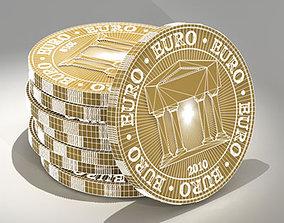 Symbolic euro coins 3D model