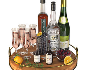 Alcohol set with tray and fruits 3D model