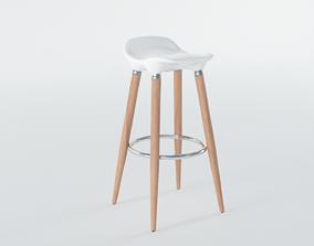 White Wooden Barstool 3D asset