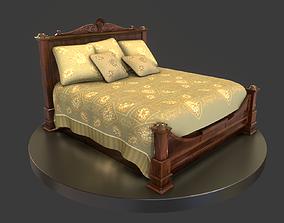 3D model Vintage Wooden Bed