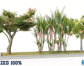 3D model Trees Set Optimized