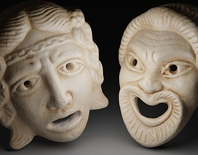 3D asset Theater comedy and tragedy masks