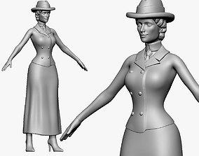 001134 woman in hat very thin waist 3d print ready