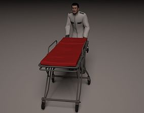 3D Hospital orderly pushing stretcher