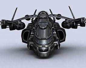 low-poly 3DRT - Sci-Fi Gunship 6