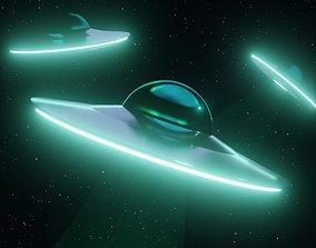 Low Poly UFO aliens 3D model realtime