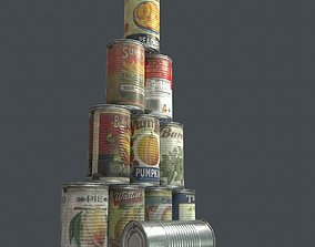 3D asset 10 old Tin Can with Food