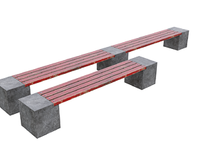 Bench red 3D