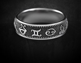 Ring of the Zodiacs fashion ring many sizes 3D print model
