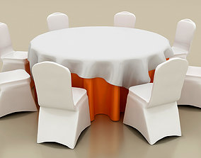 3D Hotel Banquet Table with Chairs
