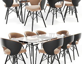 Oslo Dining Table Chair Set 3D model