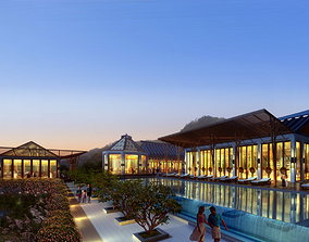 3D model Modern Hotel With Luxury Swimming Pool