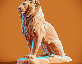 Low poly Lion 2 Papercraft 3D printable model