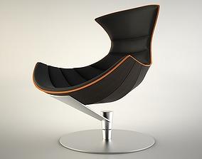 3D Lobster Chair in black leather and dark veneer