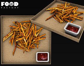 3D asset Fries box mesh