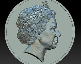 3D print model Queen Elizabeth - medal - relief -