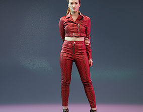 3D model Red Snake Leather Outfit Girl Posing in High