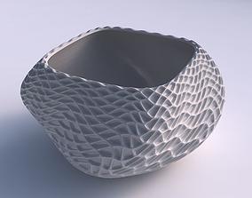 3D print model Bowl helix with wavy grid piramides
