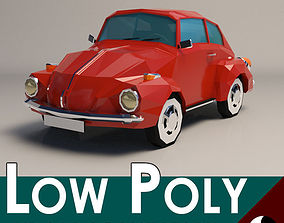 3D asset Low-Poly Cartoon VW Beetle